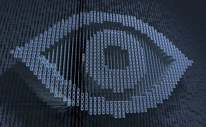 Human eye in three dimensional binary code