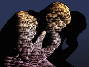 The Thinker in three dimensional binary code