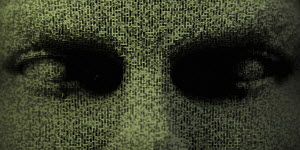Close up of three dimensional eyes in binary code