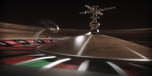 Close up of ball bouncing on roulette wheel