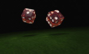 Close up of two rolling dice