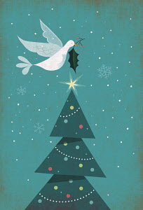 Christmas card with Christmas tree, dove and holly