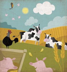 Cute happy farm animals