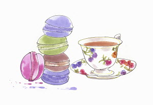 Watercolour painting of macaroons next to cup of tea