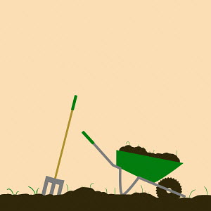 Digging soil with garden fork and wheelbarrow