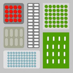 Blister packs of pills arranged in pattern