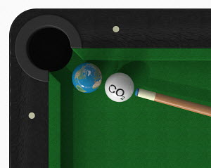 CO2 cue ball about to hit globe ball on snooker table
