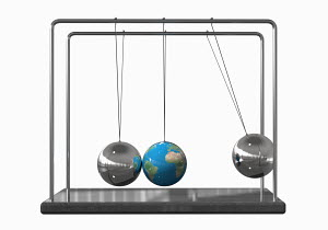 Globe as ball on Newton's Cradle
