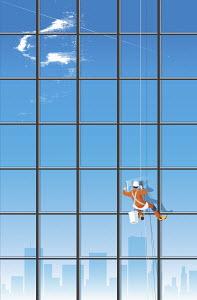 Window cleaner washing skyscraper windows
