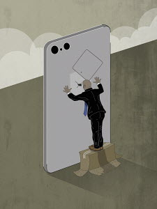 Man snooping through peephole in smart phone