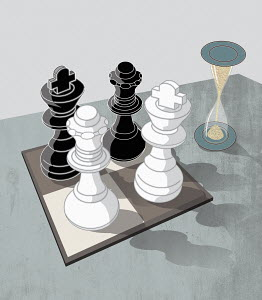 Hourglass and chess pieces