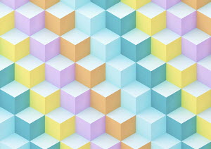Abstract multi coloured geometric cube pattern