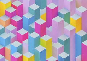 Abstract rectangular columns of uneven height
