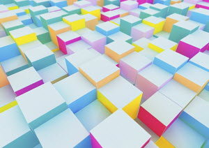 Cubes forming uneven abstract surface