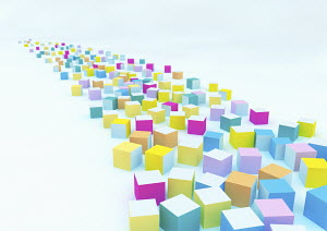 Multi coloured cubes disappearing into vanishing point