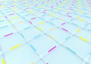 Abstract straws and connectors in full frame grid pattern