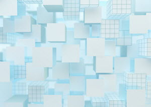 Lots of floating cubes in full frame abstract pattern