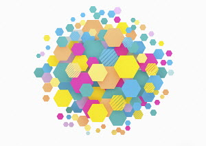 Lots of colourful hexagons forming circle shape