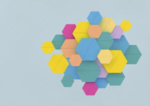 Overlapping colourful hexagon shapes