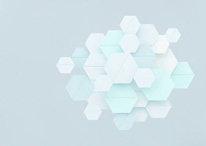 Overlapping pastel hexagon shapes