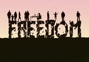 The word 'freedom' crumbling beneath people