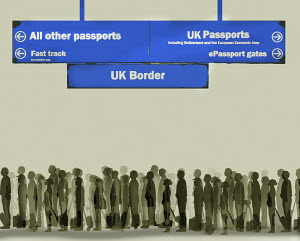 Long queue for passport control at UK border