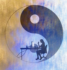 Yin yang symbol and woman working