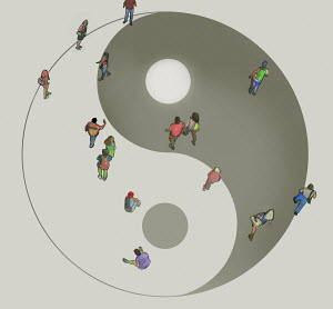 Overhead view of people walking over yin yang symbol