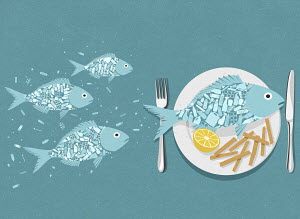 Fish full of plastic swimming and on plate with chips