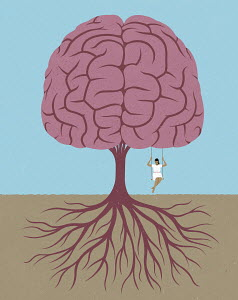 Woman swinging from brain tree