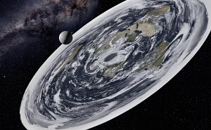 Digitally manipulated image of moon casting shadow on flat earth