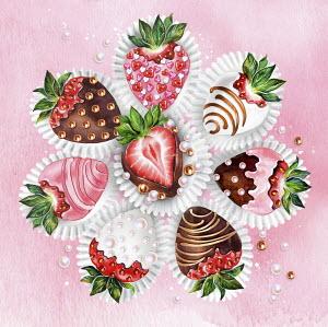 Decorated chocolate coated strawberries