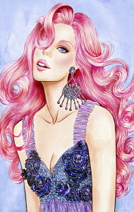 Glamorous woman with long pink hair