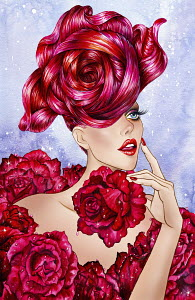 Fashion model with bizarre hairstyle dressed in roses