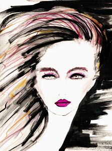 Fashion illustration of serious young woman