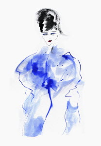 Fashion illustration of woman in blue wrap