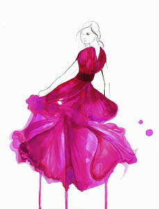 Fashion illustration of woman wearing long flowing evening gown