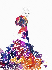 Fashion illustration of woman wearing multi coloured ruffled evening gown