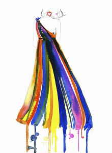 Fashion illustration of rear view of woman wearing rainbow evening gown