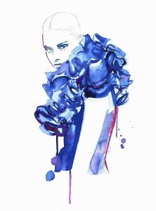 Fashion illustration of woman wearing blue ruff