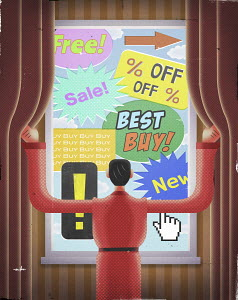 Man being bombarded by sales advertising