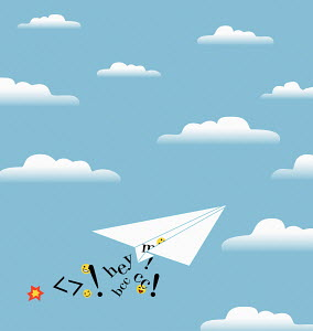 Email graphics falling from paper airplane