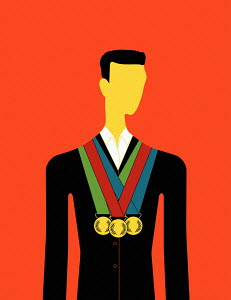 Tri-sector businessman wearing three gold medal