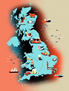 Illustrated food map of United Kingdom