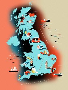 Illustrated food map of United Kingdom