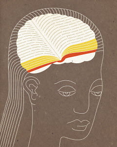 Woman with book inside of head