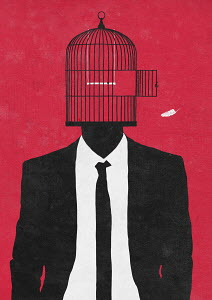 Businessman with birdcage head after bird escaped