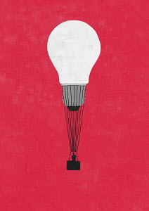 Man in light bulb hot air balloon