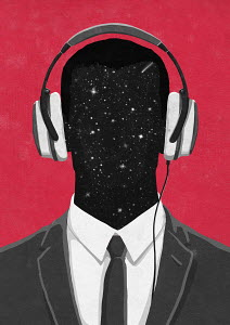 Man listening to headphones with head in outer space