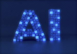 Blocks of circuit board, central processing units and mathematical formulae forming letters AI